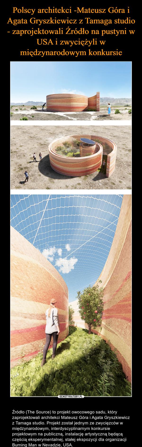 – Źródło (The Source) to projekt owocowego sadu, który zaprojektowali architekci Mateusz Góra i Agata Gryszkiewicz z Tamaga studio. Projekt został jednym ze zwycięzców w międzynarodowym, interdyscyplinarnym konkursie projektowym na publiczną, instalację artystyczną będącą częścią eksperymentalnej, stałej ekspozycji dla organizacji Burning Man w Nevadzie, USA.