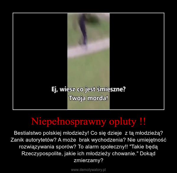 """Niepełnosprawny opluty !! – Bestialstwo polskiej młodzieży! Co się dzieje  z tą młodzieżą? Zanik autorytetów? A może  brak wychodzenia? Nie umiejętność rozwiązywania sporów? To alarm społeczny!! """"Takie będą Rzeczypospolite, jakie ich młodzieży chowanie."""" Dokąd zmierzamy?"""