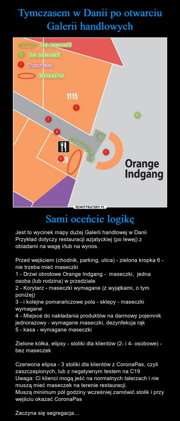Sami oceńcie logikę – Jest to wycinek mapy dużej Galerii handlowej w DaniiPrzykład dotyczy restauracji azjatyckiej (po lewej) z obiadami na wagę i/lub na wynos.Przed wejściem (chodnik, parking, ulica) - zielona kropka 6 - nie trzeba mieć maseczki1 - Drzwi obrotowe Orange Indgang -  maseczki,  jedna osoba (lub rodzina) w przedziale2 - Korytarz - maseczki wymagane (z wyjątkami, o tym poniżej)3 - i kolejne pomarańczowe pola - sklepy - maseczki wymagane4 - Miejsce do nakładania produktów na darmowy pojemnik jednorazowy - wymagane maseczki, dezynfekcja rąk5 - kasa - wymagane maseczkiZielone kółka, elipsy - stoliki dla klientów (2- i 4- osobowe) - bez maseczekCzerwona elipsa - 3 stoliki dla klientów z CoronaPas, czyli zaszczepionych, lub z negatywnym testem na C19Uwaga: Ci klienci mogą jeść na normalnych talerzach i nie muszą mieć maseczek na terenie restauracji.Muszą minimum pół godziny wcześniej zamówić stolik i przy wejściu okazać CoronaPasZaczyna się segregacja...