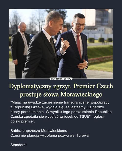 Dyplomatyczny zgrzyt. Premier Czech prostuje słowa Morawieckiego