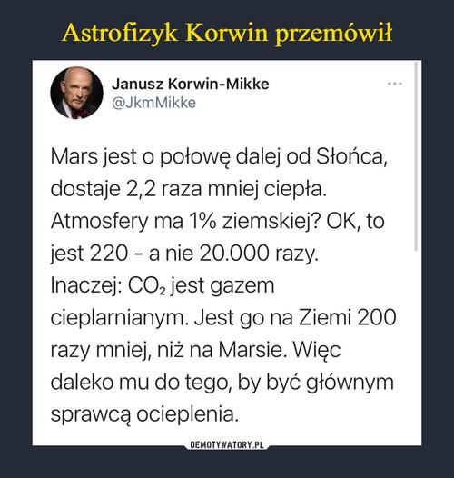 Astrofizyk Korwin przemówił