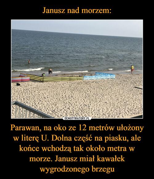 Janusz nad morzem: Parawan, na oko ze 12 metrów ułożony w literę U. Dolna część na piasku, ale końce wchodzą tak około metra w morze. Janusz miał kawałek wygrodzonego brzegu