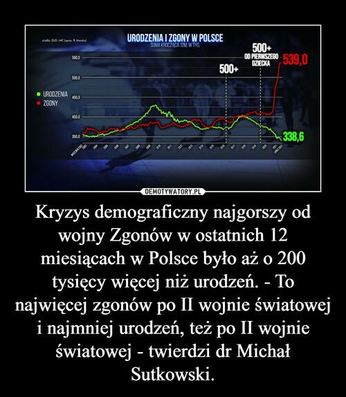 Kryzys demograficzny najgorszy od wojny Zgonów w ostatnich 12 miesiącach w Polsce było aż o 200 tysięcy więcej niż urodzeń. - To najwięcej zgonów po II wojnie światowej i najmniej urodzeń, też po II wojnie światowej - twierdzi dr Michał Sutkowski.