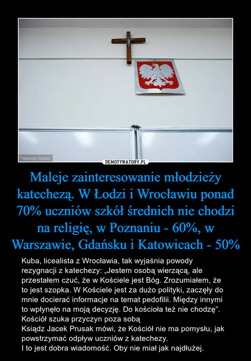 Maleje zainteresowanie młodzieży katechezą. W Łodzi i Wrocławiu ponad 70% uczniów szkół średnich nie chodzi na religię, w Poznaniu - 60%, w Warszawie, Gdańsku i Katowicach - 50%