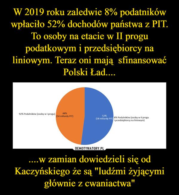 """....w zamian dowiedzieli się od Kaczyńskiego że są """"ludźmi żyjącymi głównie z cwaniactwa"""" –"""
