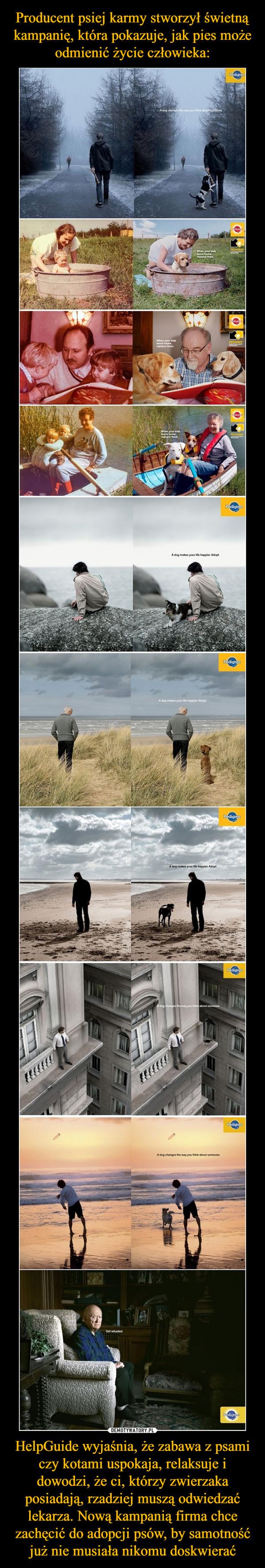 Producent psiej karmy stworzył świetną kampanię, która pokazuje, jak pies może odmienić życie człowieka: HelpGuide wyjaśnia, że zabawa z psami czy kotami uspokaja, relaksuje i dowodzi, że ci, którzy zwierzaka posiadają, rzadziej muszą odwiedzać lekarza. Nową kampanią firma chce zachęcić do adopcji psów, by samotność już nie musiała nikomu doskwierać