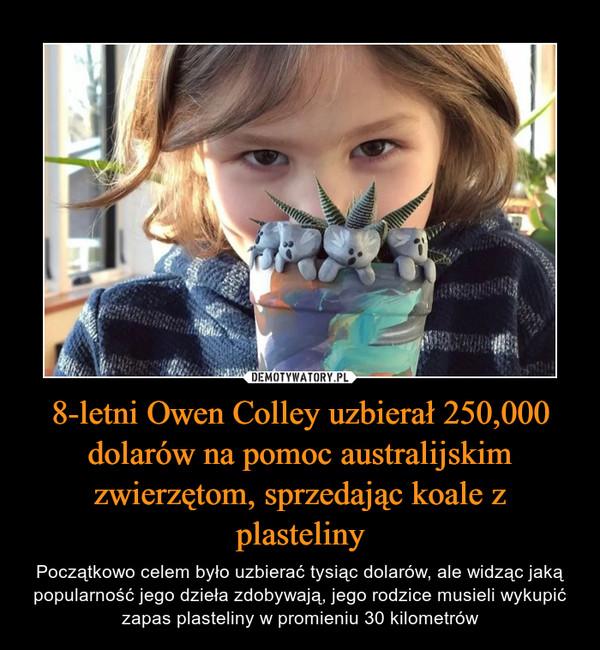8-letni Owen Colley uzbierał 250,000 dolarów na pomoc australijskim zwierzętom, sprzedając koale z plasteliny